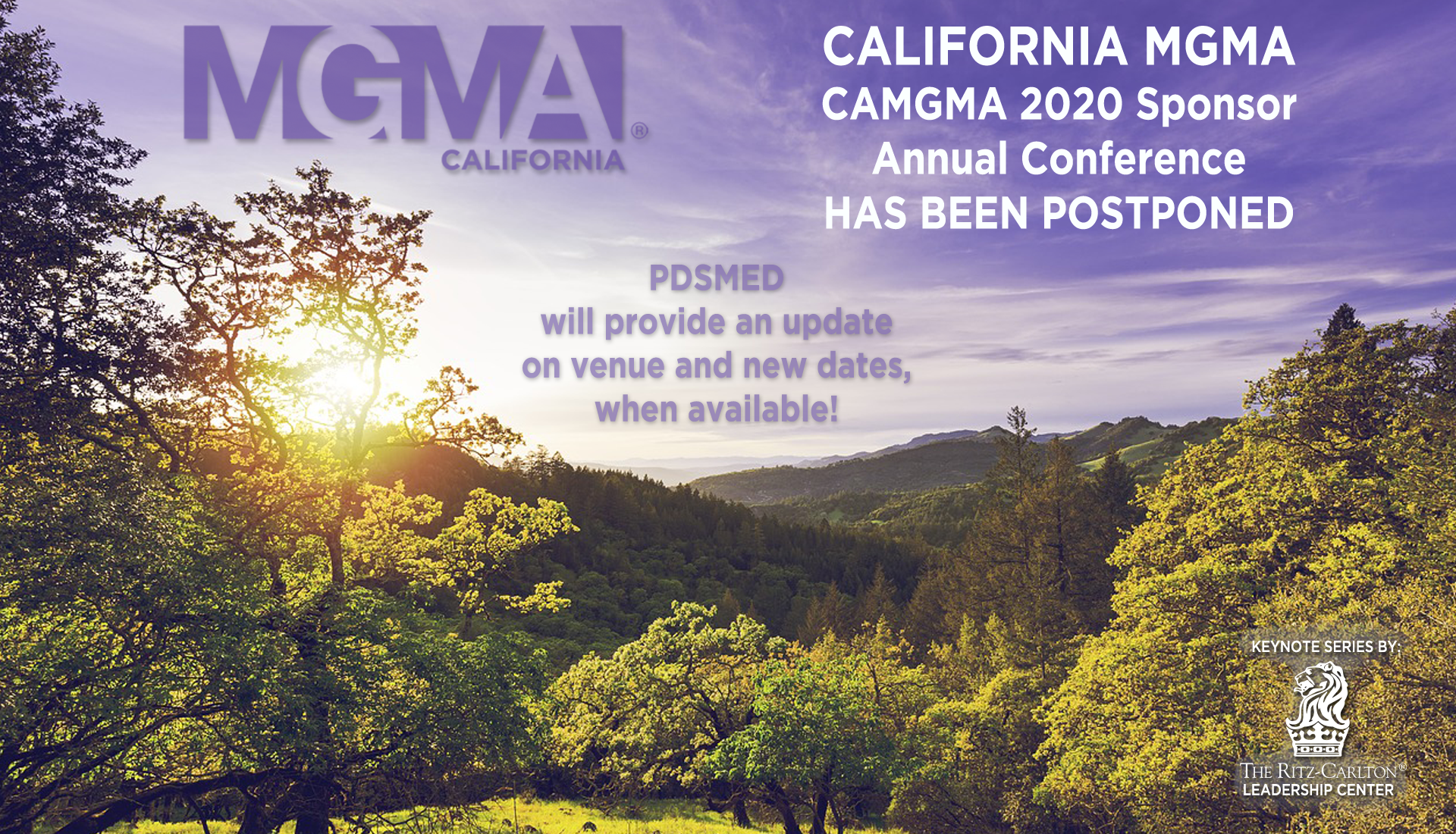 CAMGMA 2020 Sponsor - Annual Conference (postponed) PDSMED will provide an update on venue and new dates, when available!